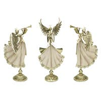 Set of 3 Off-White and Gold Colored Holiday Tabletop Angel Figurines - WHITE