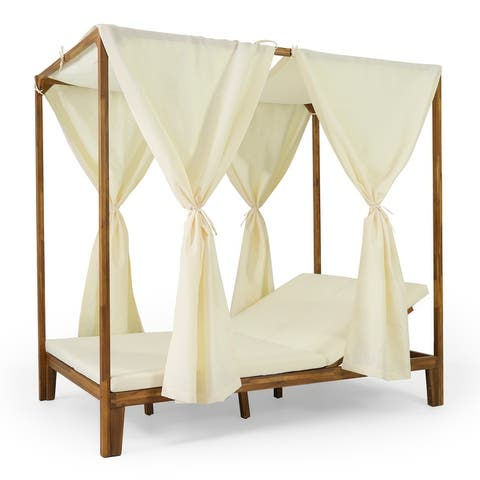 Kinzie Outdoor 2 Seater Adjustable Acacia Wood Daybed with Curtains by Christopher Knight Home