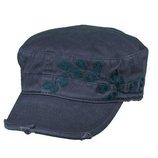 Dorfman Pacific Women's Cotton Vine Embroidery Military Cadet Hat - One size