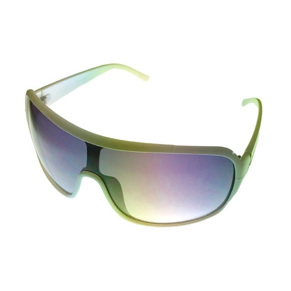 Perry Ellis Sunglass PE11 5 White Plastic Shield, Smoke Gradient Lens