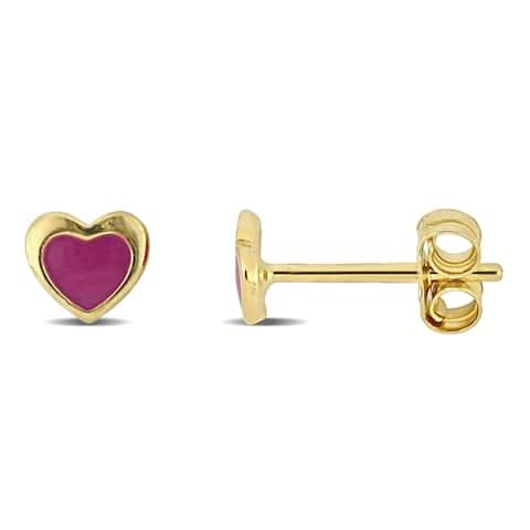 Miadora 18k Yellow Gold Children's Pink Enamel Heart Stud Earrings - 5.4mm x 1mm