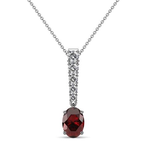 TriJewels Gemstone Diamond Womens Journey Pendant Necklace Gold