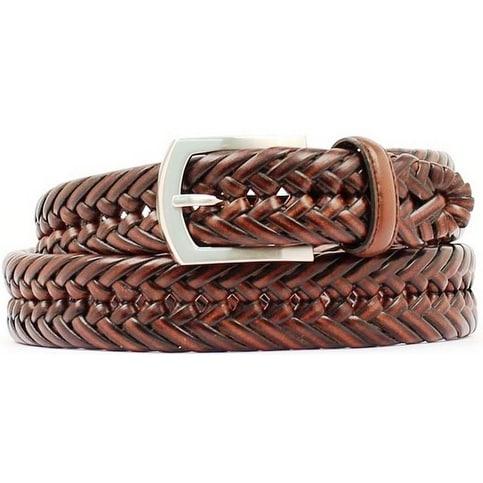 "Nocona Western Belt Mens Leather 1.25"" Braided Mocha"