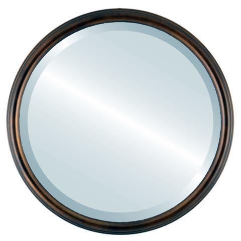 Hamilton Framed Round Mirror in Rubbed Bronze with Silver Lip - Antique Bronze
