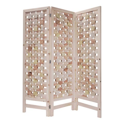 3 Panel Wooden Screen with Interspersed Square Pattern, Cream