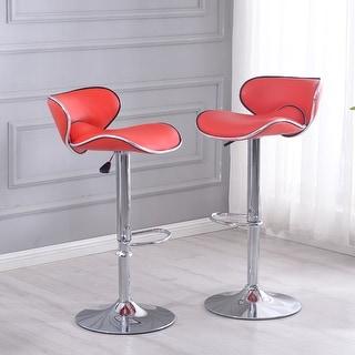 Belleze Adjustable Saddleback Style Swivel Bar Stool Seat - Set of 2 (Red)