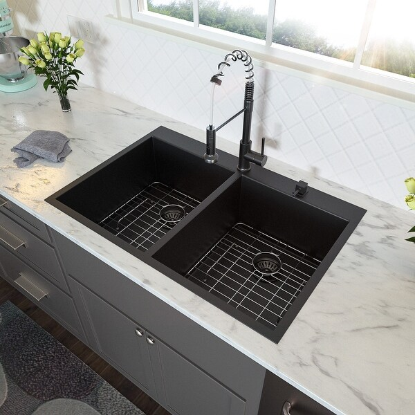 Top Mount R10 Round Corner Double Bowl Stainless Steel Kitchen Drop-in Sink with Strainer and Bottom Rinse Grid. Opens flyout.
