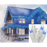 Set of 70 Blue & Warm Clear Wide Angle Icicle Christmas Lights - White Wire