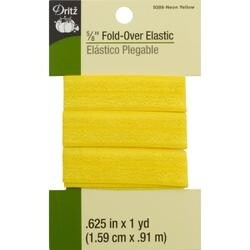 "Neon Yellow - Dritz Fold-Over Elastic 5/8""X1yd"