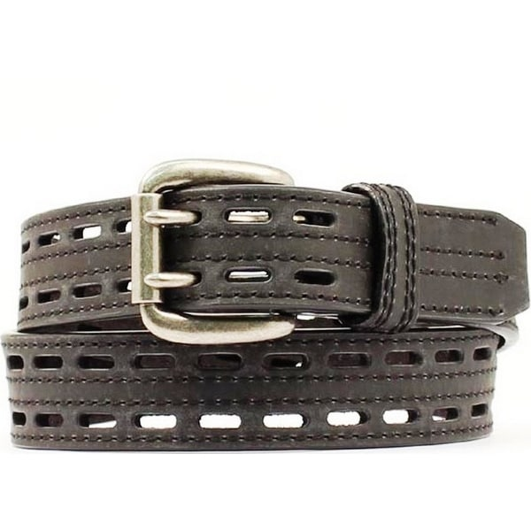 Nocona Western Belt Mens Leather HD Extreme Double Hole Black