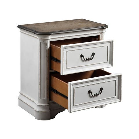 Florian Nightstand with 2 Storage Drawers, Antique White & Oak Finish