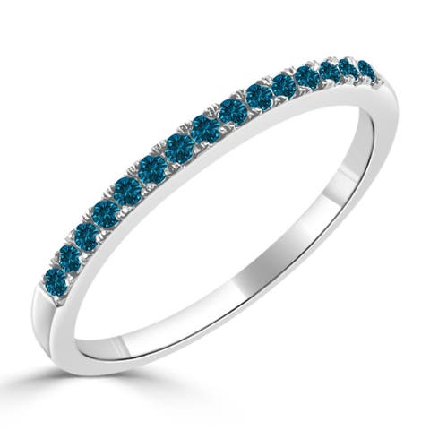 Auriya 10k Gold 1/5ctw Ultra-thin Stackable Blue Diamond Wedding Band