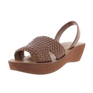 Kenneth Cole Reaction Womens Fine Time Faux Leather Woven Platform Sandals - 9 medium (b,m)