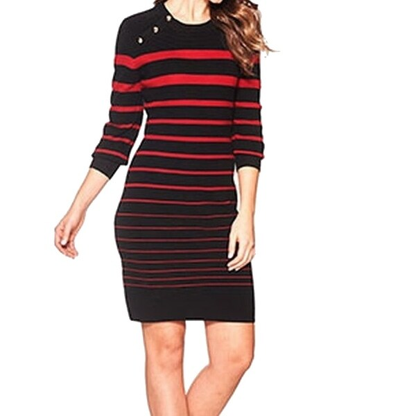 35f5b661e Shop Calvin Klein NEW Red Black Women s Size Small S Striped Sweater ...