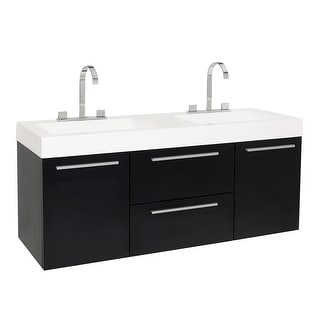 """Fresca FCB8013-I  Opulento 54"""" Wall Mounted / Floating Vanity Set with Engineered Wood Cabinet and Acrylic Dual Integrated Sinks"""