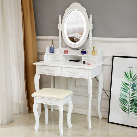 Dressing Table Set Single Mirror 4 Drawer with Dressing Stool White