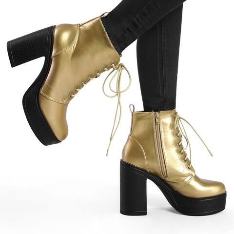Women's Platform Chunky High Heel Lace Up Combat Boots