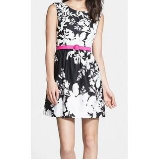Eliza J NEW Black Women's Size 4 Floral Print Belted Sheath Dress