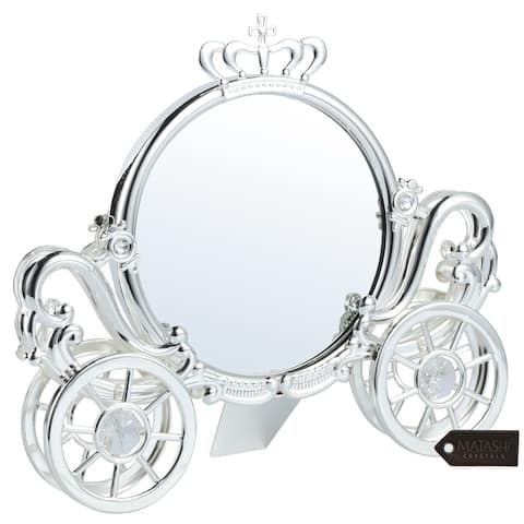 Matashi Silver Plated Double Sided Cinderella Princess Coach Mirror Embellished with Crystals
