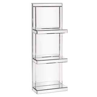 """Howard Elliott Mirrored 3 Shelf Unit 42.5"""" Tall Mirrored Glass Shelves"""