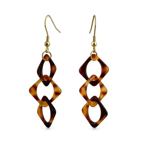 Brown Acrylic Tortoise Shell Interlock Earrings Gold Plated Steel - 0.59