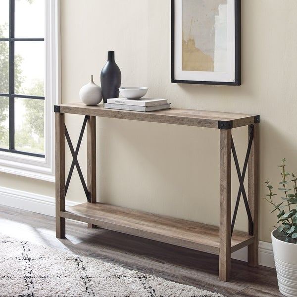 The Gray Barn 46-inch Kujawa X-Frame Entry Table. Opens flyout.