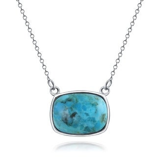 Bling Jewelry .925 Silver Natural Compressed Turquoise Necklace 18 Inches - Blue