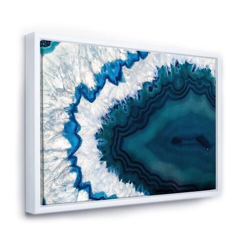 Designart 'Blue Brazilian Geode' Abstract Framed Canvas Wall Art Print