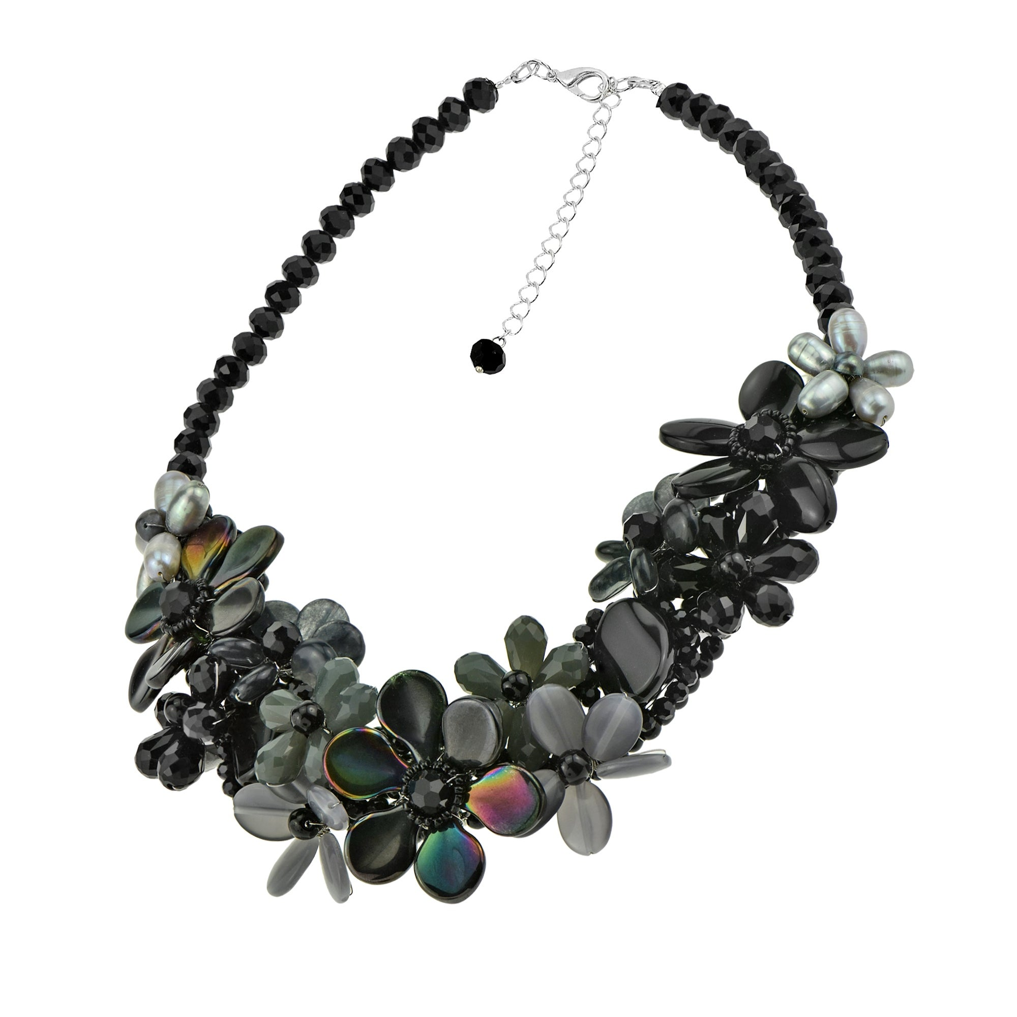 AeraVida Blossom Grey Multi Stone Floral Necklace Earring Set