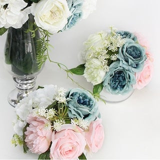 G Home Collection Luxury Pink Blue Rose and Peony Flower Arrangement