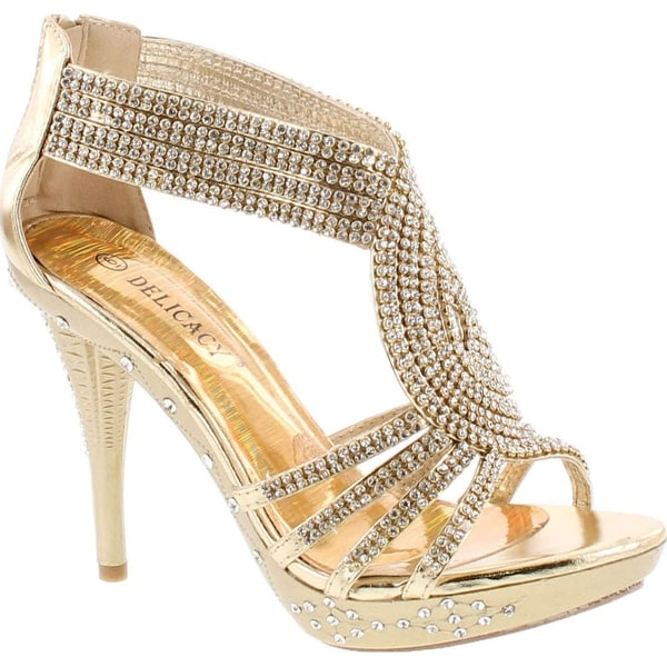 Delicacy 07 Womens Rhinestone Event Dress Sandals Gold