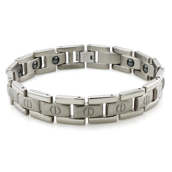 Titanium Satin/High Polish Screw Accent Magnetic Bracelet - 8.5 inches