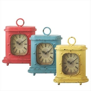 Set of 3 Distressed Antique Style Red, Blue and Yellow Desk Clocks 9.75""