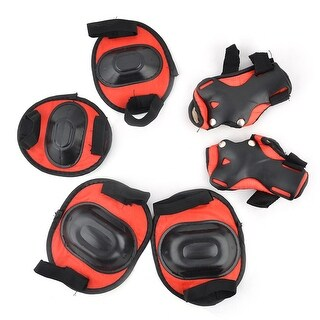 Sports Skating Plastic Gear Knee Elbow Wrist Pads Protector Red Black 6 in 1