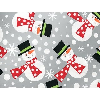 """Pack Of 1, 24"""" x 417' Polka Snowmen Gift Wrap Counter Roll For 175 -200 Gifts Made In Usa"""