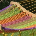 Sunnydaze Thick Cord Woven Single Person Mayan Hammock with Curved Spreader Bars - Thumbnail 1