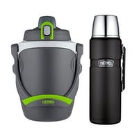 Thermos 64 Oz Insulated Hydration Bottle (Charcoal) w/ Insulated 2 Liter Bottle