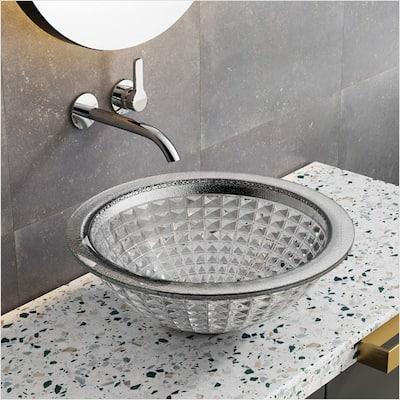 Clihome Glass Vessel Bathroom High Tempered Glass Sink