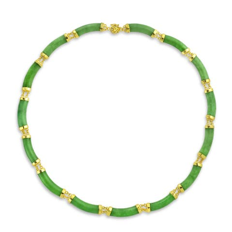 Asian Style 62.5 CTW Natural Dyed Green Jade Collar Necklace For Women 14K Gold Plated 925 Silver Links