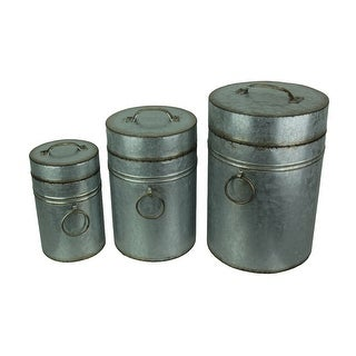 Set of 3 Antique Look Galvanized Finish Metal Canisters
