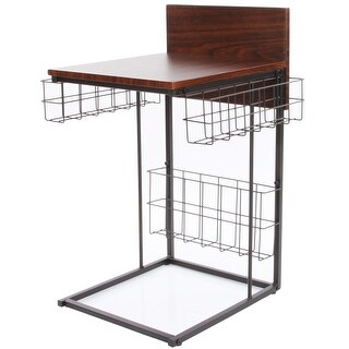 Multipurpose Wood Computer Desk , Gaming / Writing Desk With Storage Basket
