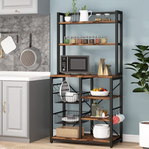 Standing Kitchen Baker's Rack with 6 Hooks and 2 Wire Baskets