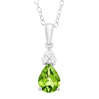 1 3/8 ct Natural Peridot & White Topaz Pendant in Sterling Silver - Green
