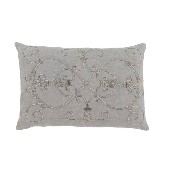 """13"""" x 19"""" Quick Silver and Silver Sand Woven Decorative Throw Pillow- Polyester Filler"""