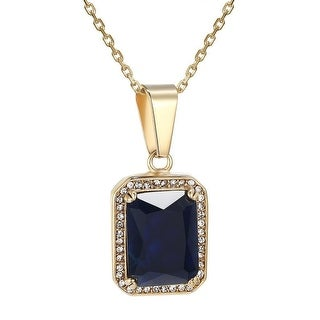 Blue Ruby Glass Solitaire Pendant Hip Hop Gold Tone Stainless Steel Chain Rapper
