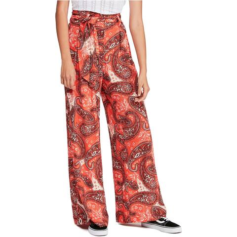 Free People Womens Paisley Casual Wide Leg Pants, Red, X-Small