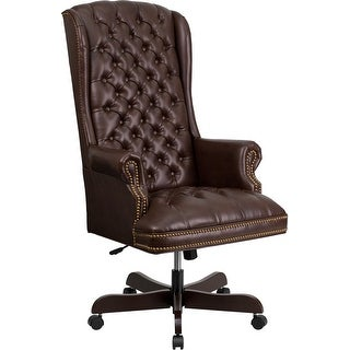 Bridgettine High-Back Button Tufted Brown Leather Executive Swivel Chair w/Arms