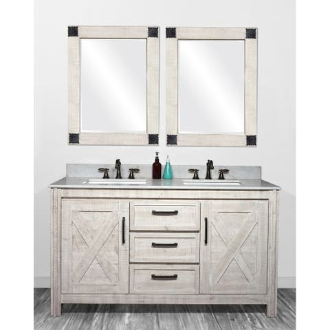 """61""""Special Edition Solid Fir Wood Double Bathroom Vanity in Sawed Pattern Design and Handpainted White Color with Marble Top"""