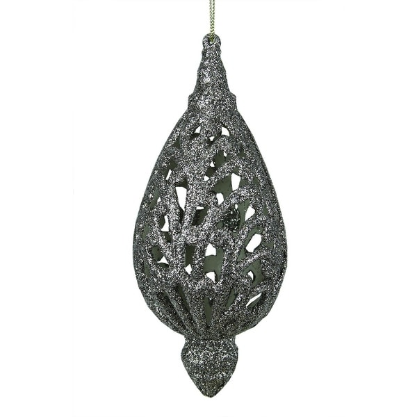 "6.5"" Silver Glitter Drenched Cut-Out Teardrop Christmas Ornament"
