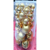 "40-Piece Gold Collection Glass Ball Christmas Ornament Set 1"", 1.25"", 2.5"""